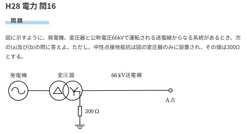 電験三種 電力、地絡電流の等価回路について 電験3種 H28 電力 問16について https://yaku-tik.com/denken/h28-d16/ 等価回路を描く際 (a)一線地絡・・・接地抵抗300Ωを描く、電源は66k/√3 (b)三相短絡・・・接地抵抗300Ωを描かない、電圧は√3*66k となるんですが、こういう違いが出てくる理由・考え方がわかりません。 そもそも、地絡の計算問題について、手持ちの参考書類ではあまり記載がなく、 (a)は類似問題、 https://denken-ou.com/houkih28-13/ もうこういうものだと無理やり覚えたつもりでしたが、 今回(b)のせいで、地絡の計算問が全くわからなくなってきました) 少し、詳しい・丁寧な説明をしてもらえないでしょうか?