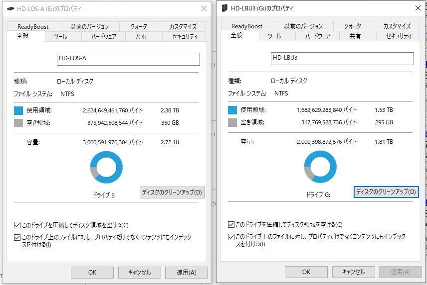 2TBの外付けHDのバックアップを作る為、3TBの外付けHDにコピーしたところ、写真の様な状態になっています。 3TBの使用容量がが2.38TB・・・・ ※2TBの方の外付けHDは、コピー後幾つかファイルを削除しており、元の使用容量は1.65TBくらいだったと思います。どちらにしても2TBを超えている事はありません。 これ、どういう状態でしょうか・・・・ 空きが350GBしかない・・・ 改善方法が分かる方がいらっしゃいましたら教えていただけると助かります。 よろしくお願い致します。