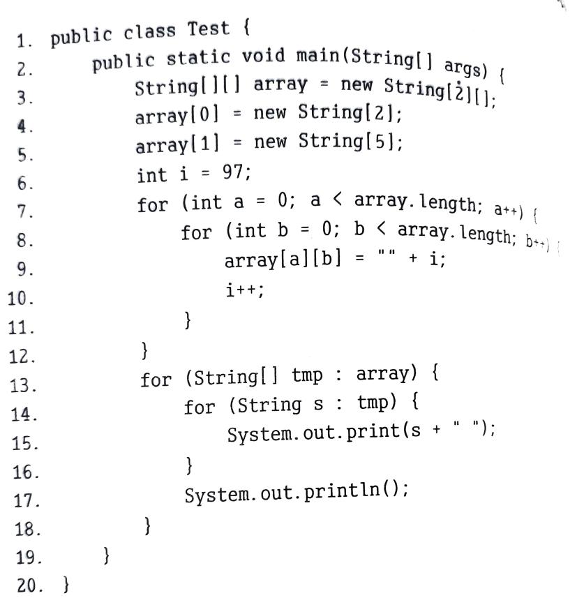 javaのこの問題がわからない このコードの結果が 97 98 99 100 null null null という結果なのですが、なぜ99 100 101 102 103とならないのでしょうか?