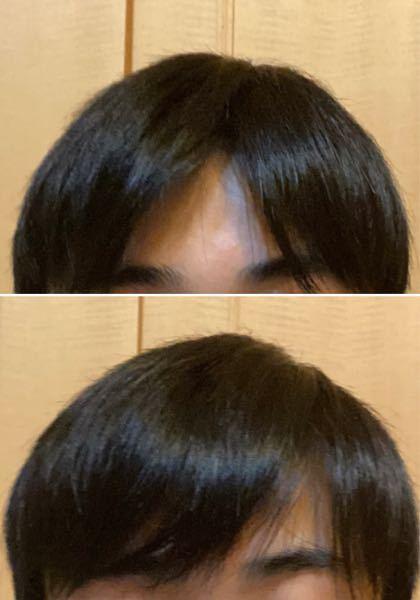 至急です‼︎ 高校一年生でイメチェンをしたいです。 センター分け(上画像)かマッシュ風ヘア(下画像)どちらが僕に似合ってますか?? ※顔は個人情報を保護するために載せていません ・目は奥二重です ・髪は目にかかるくらいです 他におすすめの髪型などありましたらアドバイスよろしくお願いします、、!