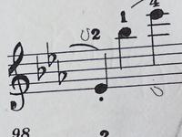これ何の記号かわかりますか??  ピアノの楽譜です。 ちなみに、曲は、ベートーヴェンの「悲愴」です。 2と指番号が書いてあるすぐ左のUみたいな記号と、4と指番号がかいてあるところの真下にある、Uを斜めにかいたものなんですが、、、。  分かる方いらっしゃいませんか??