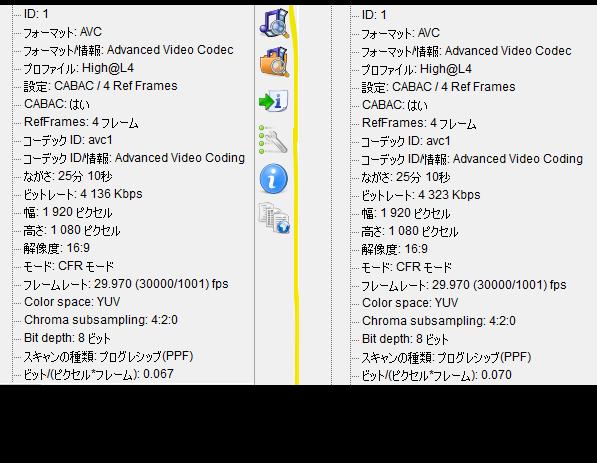 MP4ファイルなのですが画像の情報から左右どちらのほうが画質が上か判断できますか? 微妙に数字が違うところがあって、その違いでなにか変わるのでしょうか?