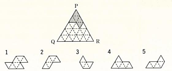 公務員 判断推理の問題です 図の灰色の部分と下の5つの図形から4つ選んで、正三角形PQRを完成させる。不要な図形は□である。ただし、いずれも裏返さず、重ねないものとする。 □の答えとできれば解説をお願いします( ;∀;)