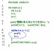 プログラミングのc言語で入力した値の階乗求めるコドで青丸で囲んだ場所がなにをしているのかわからないので優しく教えて欲しいです。