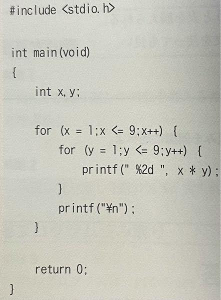 なぜこのプログラムが「九九」になるのですか,解説してください。 1×1 2×2 3×3 . . . 9×9このようにはならないのですか?