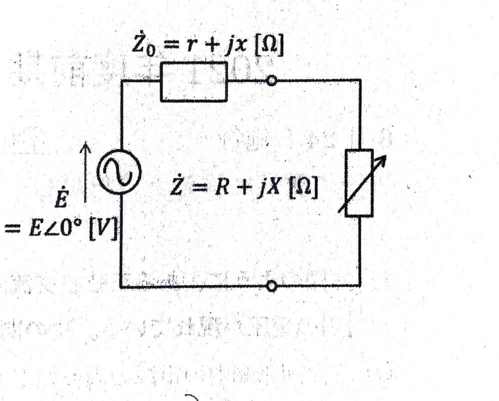この回路に流れる電流の大きさと可変インピーダンスZ・での消費電力を求めよ。という問題を教えてください。