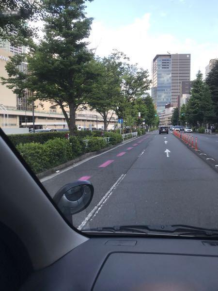 写真の線の意味を教えてください。 代々木公園の前の道路に写真の様な紫色の線が引いてありました。 これは、道路交通標識の点ではどういう意味なのでしょうか。