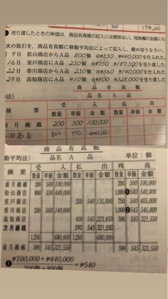 簿記の事なんですけどこの10月9日の残高の単価540円となっているのですがどこから出てきた540円でしょうか?