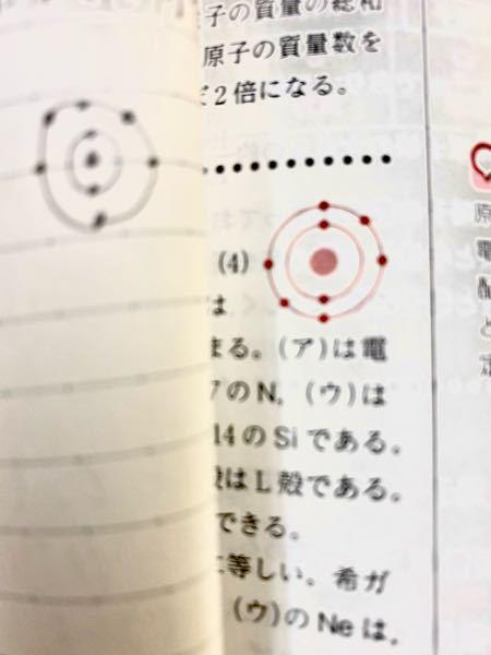 8O←(酸素と原子記号)の電子配置の図についてなんですが 答えの赤の方と自分が書いたものの違う点などが分かりません 教えて欲しいです