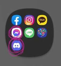 アプリ、SNSについて至急質問です! このアプリが韓国の友達の携帯に入っていたのですが、この印をつけた2つのアプリはどんなアプリですか??名前だけでも教えて貰えると助かります!