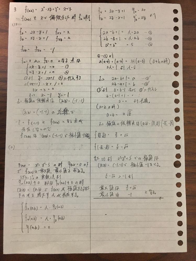 神大工学部編入学試験の数学の過去問です。 質問は2つです。 1つ目は、ヘッシアンH=0の時、極値でないことの証明の仕方は理解しているつもりですが極値である時の証明の仕方が上手く思いつかない(編入試験等の問題集に載っていない)ので教えて欲しいです。 2つ目に、写真の自分の解答が正しいか添削して欲しいです。 編入試験の過去問は基本解答などが公表されておらず正しいのか間違ってるのか分からず不安です。 よろしくお願いします。 → http://www.eng.kobe-u.ac.jp/eng-ofc/kym/bachelor/test/2020/2020hen_math.pdf (質問の都合上、問題のURLを貼っておきます。)
