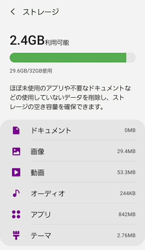 下のもの全てを足しても29.6GBにならないのはどうしてですか? あと、容量を確保するにはどうしたらいいですか?