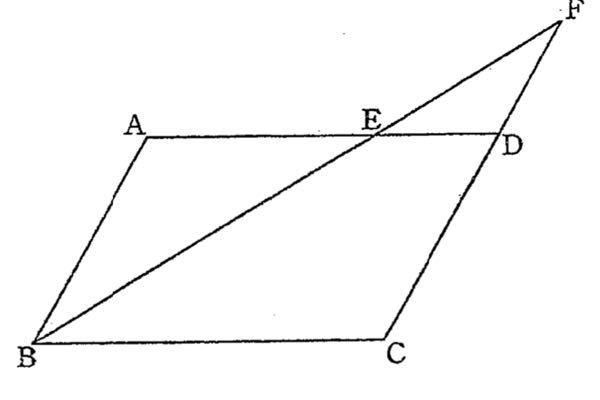 ①AB=4cm,BC=6cmの平行四辺形ABCD ②点Eを線分AD上にAE=4cm となるようにとる. ③BEを延長した直線とCDを延長した直線の交点をFとする. ④△DEFの面積は√3cm² ⑤△ABEの面積は4√3cm² ⑥DFの長さは2cm この時【平行四辺形ABCDの面積】と【ABとCDの両方に接する円の半径の長さ】の求め方(過程と結論)を教えてください。よろしくお願いします。