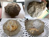 天然石、鉱物などに詳しい方教えてください。 親戚の家を片付けていたところ、戸棚から出てきましたが、何の石なのかわかりません。 洗ってみたところ(下段)水晶のような感じもします。
