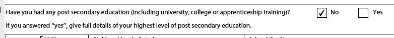 カナダの学生visaを申請したことがある方に回答をお願いしたいです。 educationの欄は高等教育を受けたことがあるかという質問ですが、現在大学生で在学中の場合はNOを選択していいのでしょうか。 修了している高等教育はありますか?という質問かなと思ったのですが…。 大使館もどこに聞けばいいかよくわからなかったので、後ほど業者等に聞こうかとは思っていますが取り急ぎわかる方がいらっしゃいましたら教えていただけますと幸いです。