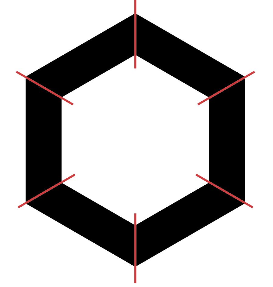 Illustrator 切り抜きについて 下記のような6角形を赤い線の部分で均等に切り分ける方法を教えてください。 切り抜いたそれぞれにパターンをあてたいです。 このデータはサイズ違いの6角形を重ねてパスファインダーで前面オブジェクトで切り抜きをしています。