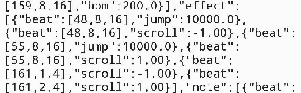 Malodyというアプリでギミック譜面を作っているのですがバグってしまい、ギミックを思うように使えません。どうすればいいですか? 参考動画が これ(https://twitter.com/GIGAMAX28210636/status/1416743642752978949?s=19 )で、ファイル内こんな感じ(添付画像)です。 どうすれば改善出来ますでしょうか。 Jumpの使い方が日本語サイトに書いていなかったためあまり使えてません。 良ければ改善ご教授願います。