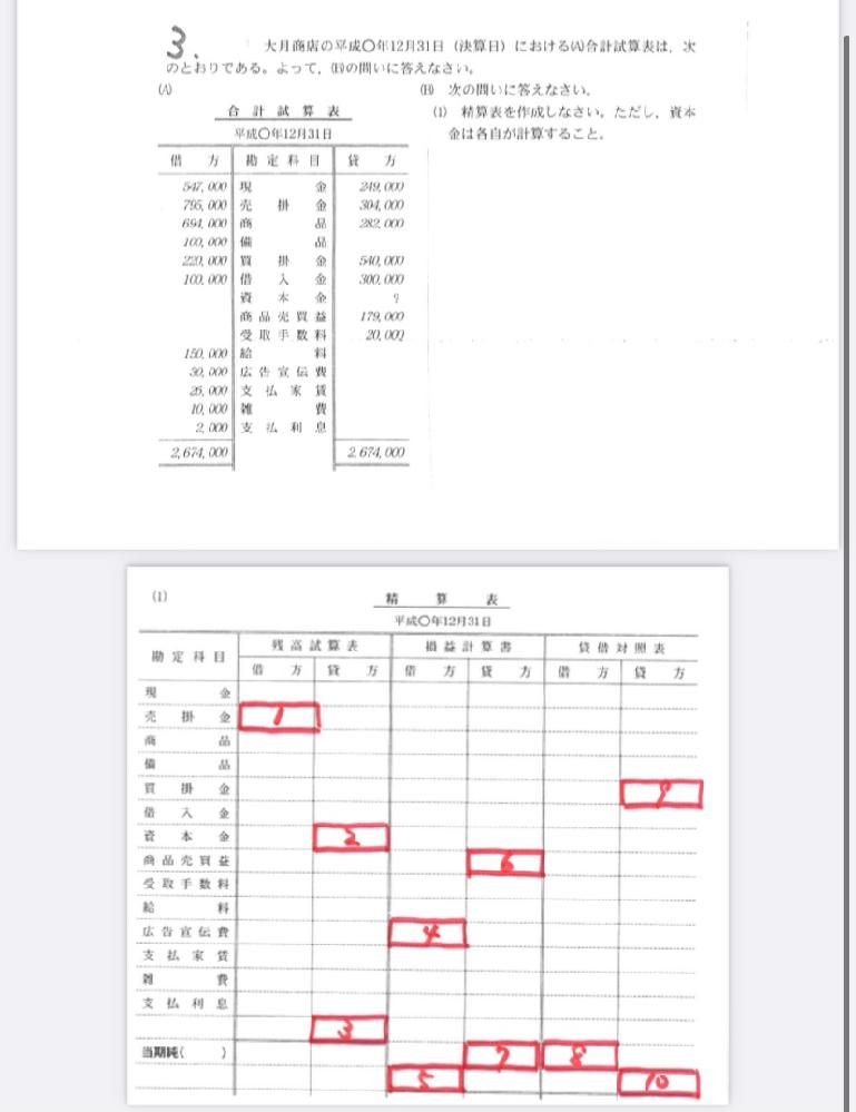 簿記の課題がわからないので助けてください。 赤枠の1-10までの回答を教えてください。 よろしくお願いします。