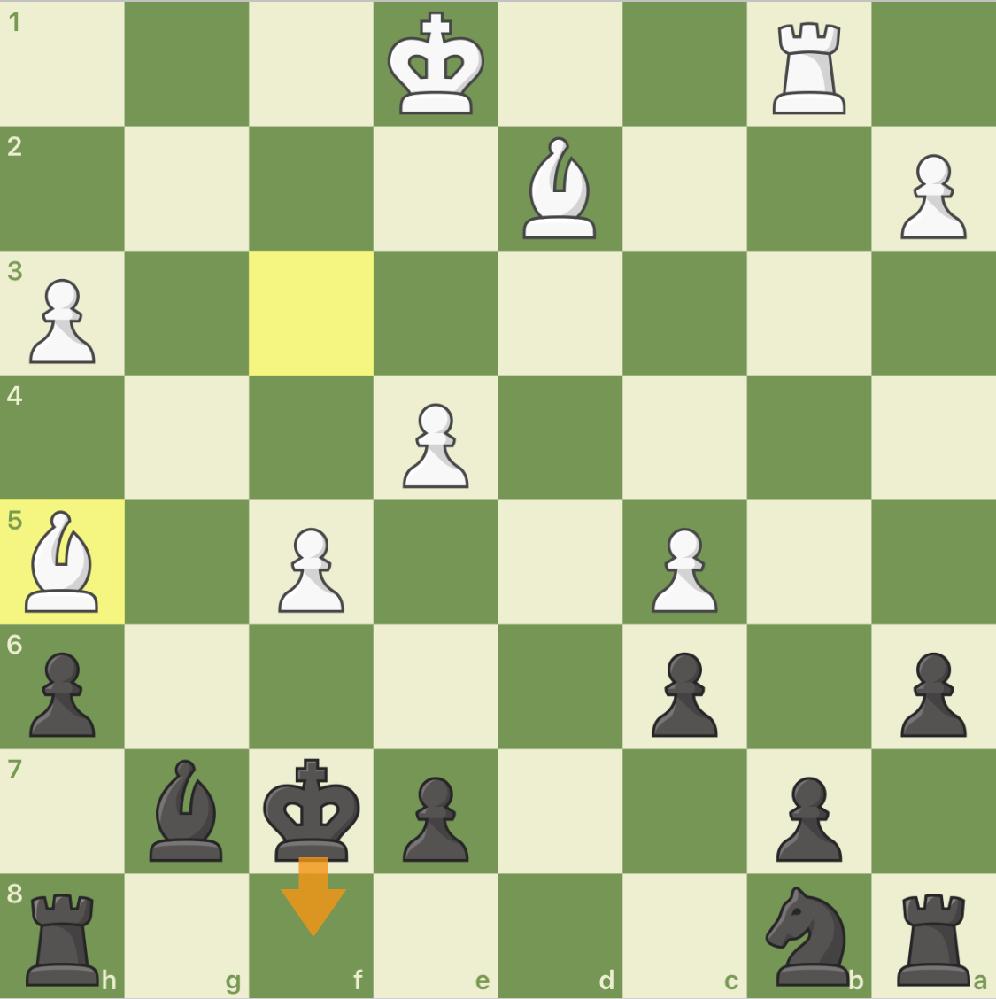 この局面,黒のキングf8が最適手なのですが,なぜg8はだめなのでしょうか?