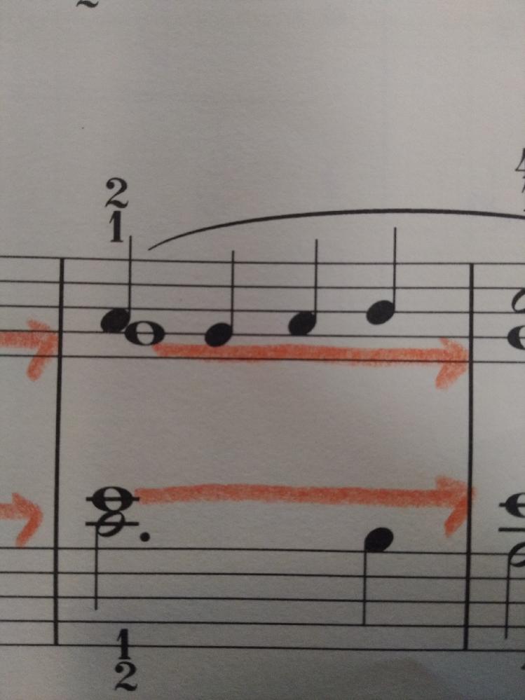 右手でソの全音符を押しながら、2拍目のソをどうやって弾けば良いでしょうか?