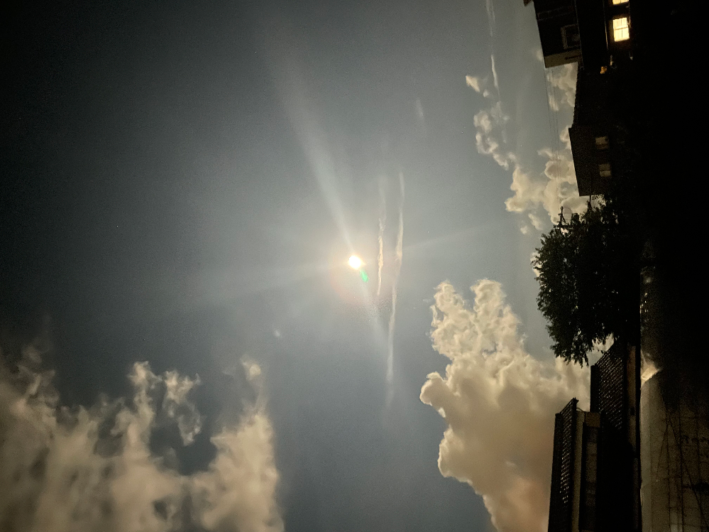 今我が家から見えるこの直線2本の雲。 何雲なんでしょうか? 地震雲は存在しないとネットで見ましたが、飛行機雲ではなさそうだし。
