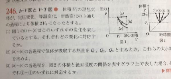 物理の質問です。(1)のaとbのどちらが等温変化でどちらが断熱変化かを見分ける問題を グラフの式を微分して傾きの大きさで判断して解くことってできますか?もしできたら式を教えて欲しいです。