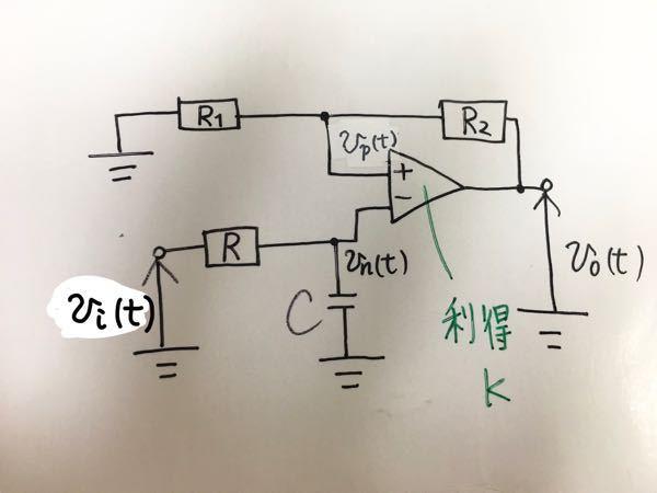 【伝達関数】 添付画像の増幅回路の伝達関数の求め方を教えてください(-_-;)