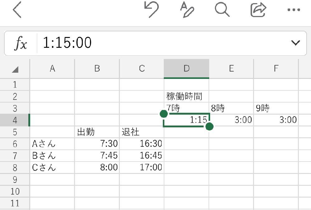 Excel初心者です 画像のような稼働時間の表を作成したいのですが、例えばこの先Dさんが増えたり、Aさんが消えたときに D4の稼働時間を自動で計算できるようにはどんな関数を使えば良いですか? 書き方なども教えて頂ければ嬉しいです。