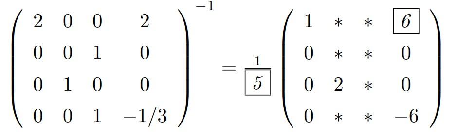 行列に関する質問です。 このように一部がわかってる場合はどうすればいいですか? 単位行列をとっていつも考えていますが工夫してやりたいです。