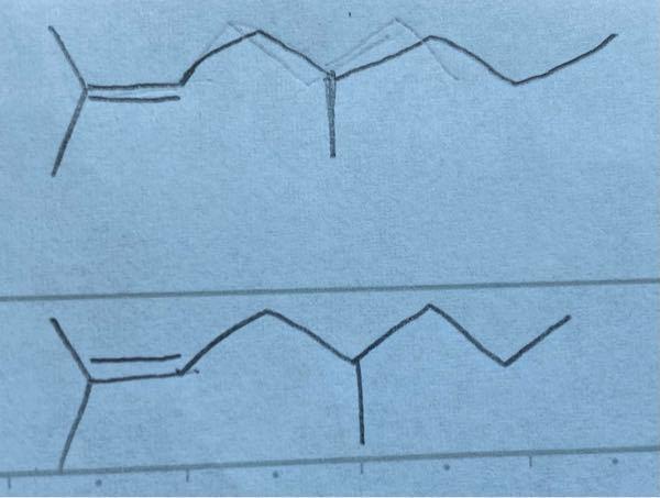 有機化学の結合・線式についての質問です。二重結合を書くのはどちら側か、何か規則があるのでしょうか。