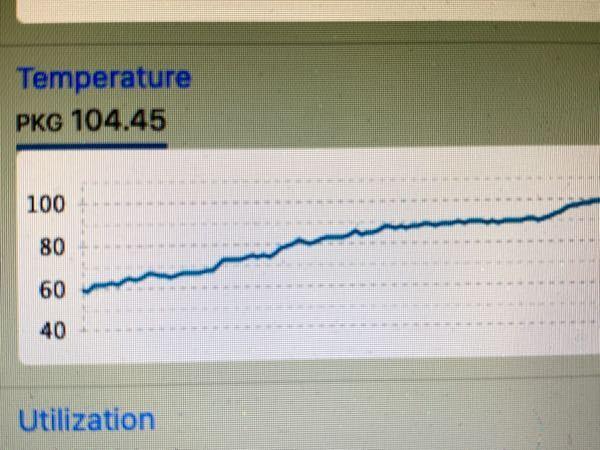 CPU負荷が90以上の時、Intel Power Gadgetアプリで CPU温度を見ると、104度と表示しているのですが、これは危険ですか? ちなみにMACBOOKのノートパソコンで、なんか黒い部分を触るとめちゃくちゃ熱いです。 一応Pcスペック MacOS Catalina10.15.6 MacBook Air Mid_2012 12インチ プロセッサ 1.8GHz Dual Core Intel i5 (たぶんU) ちなみにただネットサーフィン(Google)してるだけでも 70−80度を維持してます。
