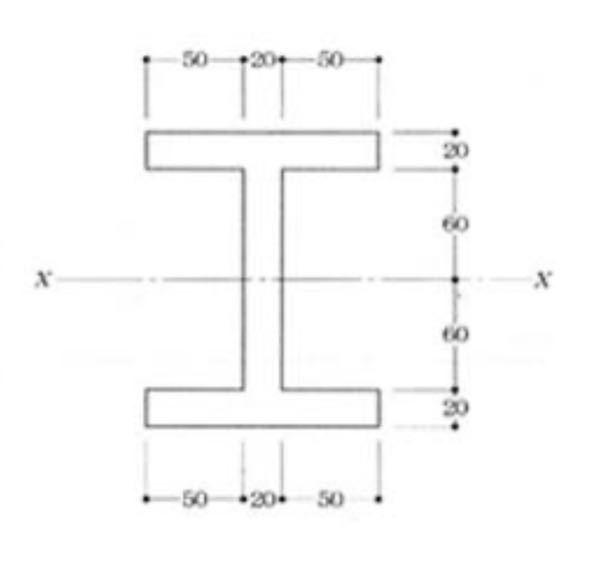 この図の断面のX軸に関する断面二次モーメントと断面係数を計算式と共に教えてください。 よろしくお願い致します。