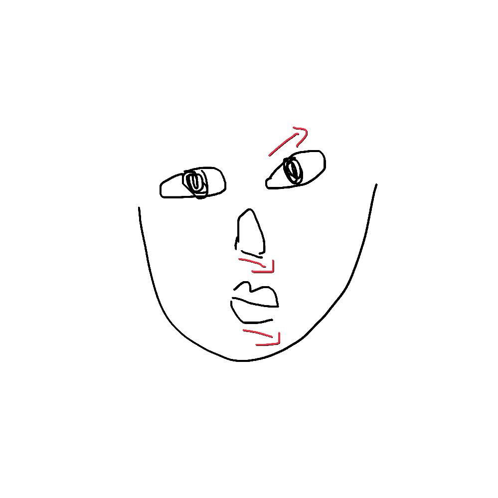 絵下手くそで分かりづらくすみません。 私は、片側の顔が歪んでおり、左右非対称です。 目はつっているのに鼻と口は下がっています。 小学校の頃からずっと悩んでいます。 原因や改善方法を教えてください。