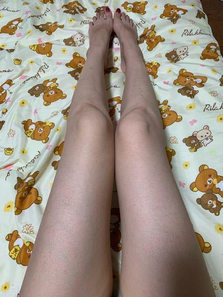 単純に、脚だけ見て体重何キロあるように見えますか? 鳥肌気持ち悪いですが、、回答お願いします