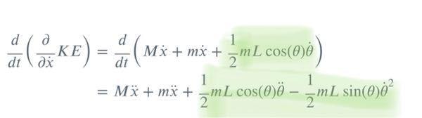 ラグランジュ方程式の求め方で質問があります。 次の写真の式のcosの時間微分について、なぜ微分した結果が下の式になるのでしょうか?解説お願いします。