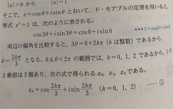 この文が理解できません。両辺の偏角を比較すると、3θ=0+2kπというのが分かりません。なぜ2kπと表現するのですか?