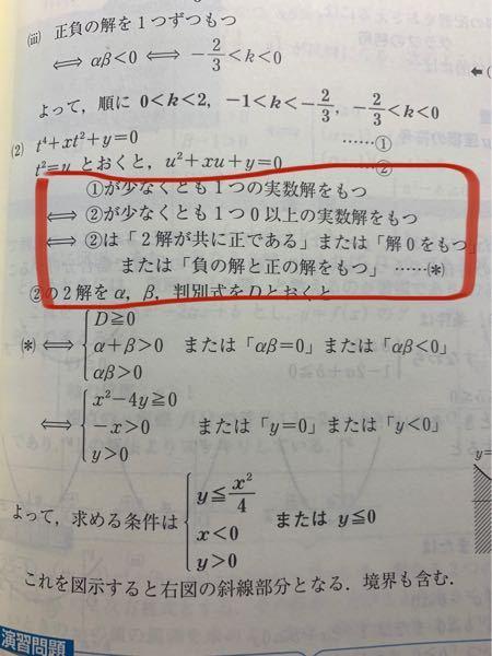 高校数学 写真で赤く囲った部分がなぜ同値になるのですか?