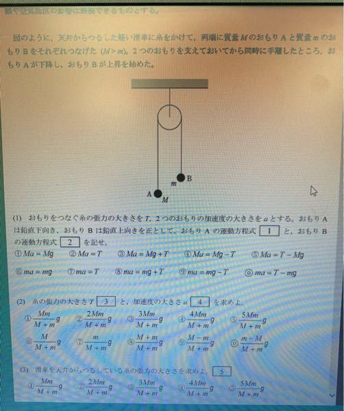 物理の画像の問題の途中式と答えを教えていただけないでしょうか。(2)と(3)だけで大丈夫です。 画像に入り切っていませんが重力加速度はgです。