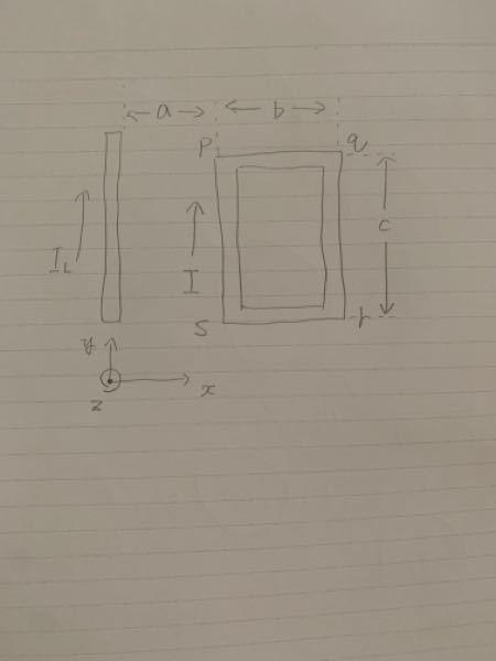 下の図の場合の問題を解いてください。 ⑴直線導線からの距離がx(x>0、z=0)離れたところでの電流ILが生じる磁束密度B ⑵電流ILが作る磁束密度Bが、長方形ループの辺qrに作用する電...