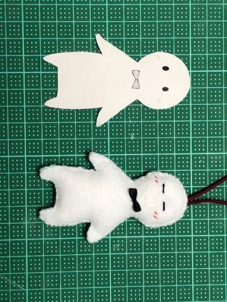 裁縫について質問です。写真↓の左のようなものを作りたいと思っているのですが、左の大きさのままフェルトを切り抜き、縫ってしまうと右のように主に頭が小さくなってしまいます。綿を1cmほど詰めているのですが、どう すれば左のようになりますか? また、目を丸くさせるにはどのように縫えば良いですか?(縫えず右のような目になってしまいました。)