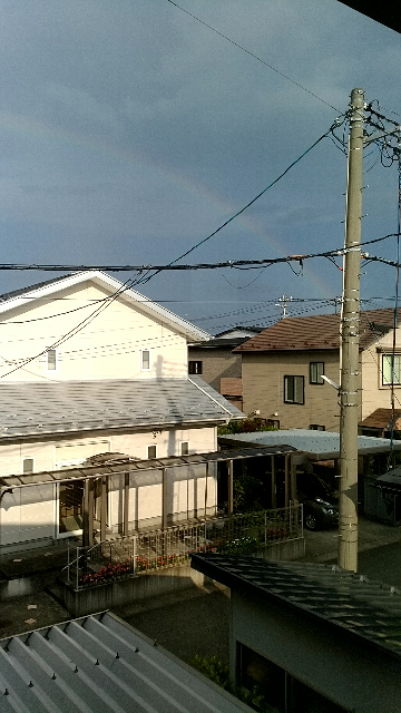 たったいま大きい虹が出ました! 今日は勝てますか!?