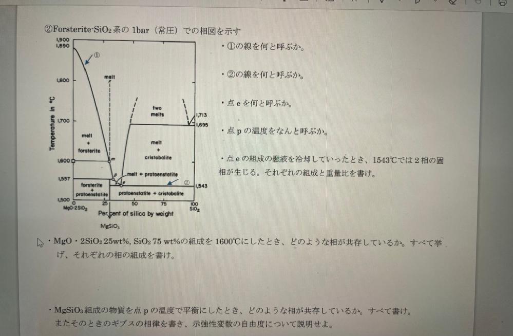 一番下の問題がわかりません。 ギブスの相律から、f=2+c-pのf:示強性変数は1になり、温度圧力は一定でmol分率は自由に取れる状態になるのでしょうか?解いたのですが自信がなく、質問させていただきました