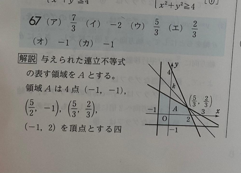 四角形の頂点である4点の求め方を教えてください( _ _) 問題は2x+y≦4、x+2y≦3、x≧-1、y≧-1を満たすときのx+yの最大値、最小値をもとめろ。というものです