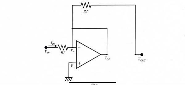 負帰還オペアンプの電流について質問です。 この図に負の電圧を印加すると電流がV-からVinに流れると思うのですが、どこから電流が来ているのでしょうか? R2に電流が流れないのはなぜでしょうか?