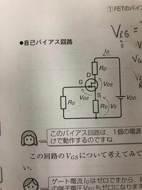 FET自己バイアス回路で写真のような回路図で解説されているのですが、負荷線の中央付近に動作点を設定したら、抵抗RDの端子電圧とVdsの電圧が同じになると解説されていたのですが、なぜ同じになるのでしょうか?