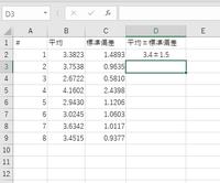 エクセルについてどなたかご存じであれば、教えてください。 B列に平均値、C列に標準偏差が羅列され、D列に平均値±標準偏差で入力したい場合、 手入力ではなく自動でB列、C列から上2桁を抽出して表示させることは可能なのでしょうか? 何か良い関数はありますか?