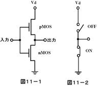 電子回路初心者です。 マイコンのIOでCMOSを使っている場合、Outputとして使う場合は写真のような回路で理解できるのですがinputの場合は写真の出力が入力に変わるわけですよね?ここをLOW HIGHにしてどうやってマイコンはそれを入力として検知するのでしょうか。