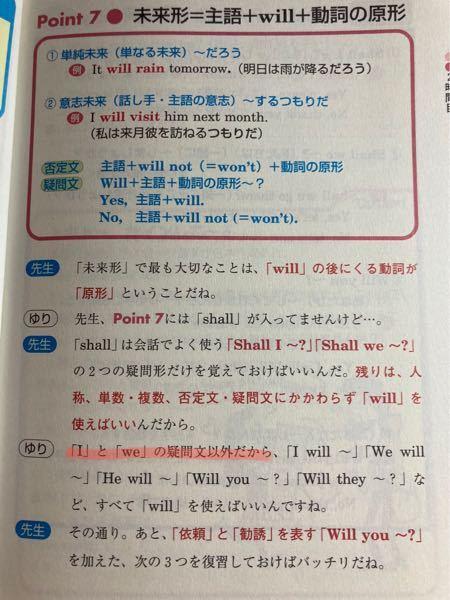willの用法について 英語の勉強をやり直してるのですが、赤線部分の意味がわかりません Will I 〜? や Will we 〜? とは使えない(使わない)ということでしょうか?