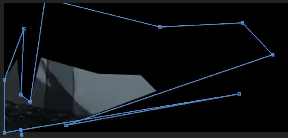 premiere proでマスクを使って映像を切り抜きたいんですが、画像のように、マスクの青い境界線で囲った形がそのまま映像になるようにするためにはどうすればいいですか?