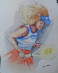 77歳の老母の趣味の水彩画です。自分は絵がわからないので批評してやってください。テニスプレーヤーの自信作だそうで、絵の先生とか、いらっしゃいませんか?